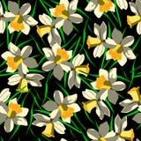 Modelo inconsútil con las flores en fondo negro Imagenes de archivo