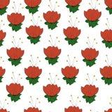 Modelo inconsútil con las flores rojas en un blanco Imagen de archivo libre de regalías