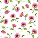 Modelo inconsútil con las flores rosadas de la anémona Ilustración del vector Fotografía de archivo