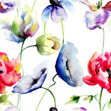 Modelo inconsútil con las flores salvajes Imagen de archivo