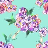 Modelo inconsútil con las flores watercolor stock de ilustración