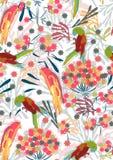Modelo inconsútil con las flores y los pájaros Imagen de archivo libre de regalías