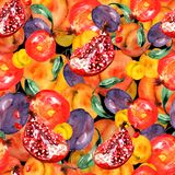 Modelo inconsútil con las frutas de las rebanadas, fruta de la granada, fruta del melocotón, ciruelo, albaricoque, sandía de la a ilustración del vector