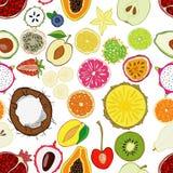 Modelo inconsútil con las frutas frescas exóticas Fotos de archivo libres de regalías