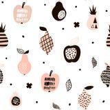 Modelo inconsútil con las frutas modernas creativas Fondo de moda dibujado mano Grande para la tela y la materia textil Ilustraci Imagenes de archivo