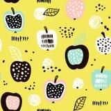 Modelo inconsútil con las frutas modernas creativas Fondo de moda dibujado mano Grande para la tela y la materia textil Ilustraci Fotos de archivo libres de regalías
