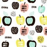 Modelo inconsútil con las frutas modernas creativas Fondo de moda dibujado mano Grande para la tela y la materia textil Ilustraci Imagen de archivo libre de regalías