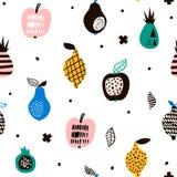 Modelo inconsútil con las frutas modernas creativas Fondo de moda dibujado mano Grande para la tela y la materia textil Ilustraci Fotografía de archivo libre de regalías
