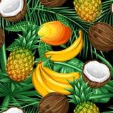 Modelo inconsútil con las frutas tropicales y las hojas Fondo hecho sin máscara que acorta Fácil de utilizar para el contexto Imagen de archivo