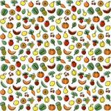 Modelo inconsútil con las frutas y las bayas ilustración del vector