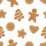 Modelo inconsútil con las galletas de la Navidad del pan de jengibre libre illustration