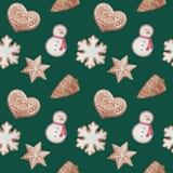 modelo inconsútil con las galletas del jengibre de la Navidad de la acuarela ilustración del vector