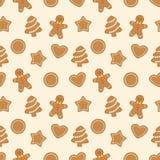 Modelo inconsútil con las galletas del pan de jengibre stock de ilustración