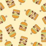 Modelo inconsútil con las hamburguesas y los cheeseburgers dobles en un fondo ligero ilustración del vector