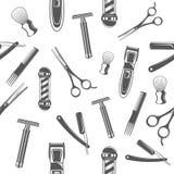Modelo inconsútil con las herramientas monocromáticas para la peluquería de caballeros y afeitar la colección de los accesorios Fotos de archivo libres de regalías
