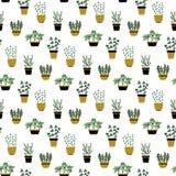 Modelo inconsútil con las hierbas culinarias en potes libre illustration