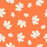 Modelo inconsútil con las hojas de arce en fondo anaranjado Otoño stock de ilustración