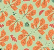 Modelo inconsútil con las hojas de otoño stock de ilustración