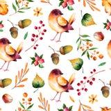 Modelo inconsútil con las hojas de otoño, las flores, las ramas, las bayas y el pequeño pájaro Imagen de archivo