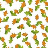 Modelo inconsútil con las hojas dibujadas mano del verde y de la naranja Fijado aleatoriamente en el fondo blanco Foto de archivo