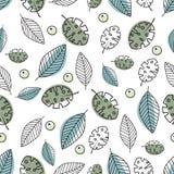Modelo inconsútil con las hojas en colores verdes azules en colores pastel - ejemplo del vector, EPS stock de ilustración