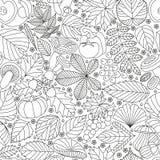 Modelo inconsútil con las hojas, las setas y las verduras del árbol Diversos elementos para el diseño Ilustración del vector de l Imágenes de archivo libres de regalías