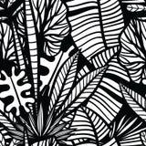 Modelo inconsútil con las hojas tropicales Fotos de archivo libres de regalías