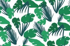 Modelo inconsútil con las hojas tropicales Imágenes de archivo libres de regalías