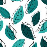 Modelo inconsútil con las hojas verdes Arte exhausto de la mano del esquema stock de ilustración