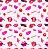 Modelo inconsútil con las insignias del remiendo de la moda Arte pop Vector las etiquetas engomadas del fondo, pernos, remiendos  Foto de archivo libre de regalías