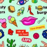 Modelo inconsútil con las insignias del remiendo de la moda Arte pop Vector las etiquetas engomadas del fondo, pernos, remiendos  Imagen de archivo libre de regalías