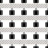 Modelo inconsútil con las maletas negras en el fondo blanco Fotografía de archivo