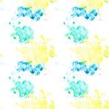 Modelo inconsútil con las manchas blancas /negras multicoloras de la acuarela en un fondo blanco ilustración del vector