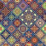 Modelo inconsútil con las mandalas decorativas Elementos de la mandala del vintage Remiendo colorido Foto de archivo libre de regalías