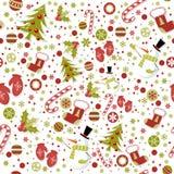 Modelo inconsútil con las manoplas lindas de Navidad de la historieta