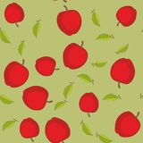 Modelo inconsútil con las manzanas de la historieta Frutas que repiten el fondo Textura sin fin de la impresión Diseño de la tela libre illustration