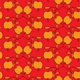 Modelo inconsútil con las manzanas en un fondo rojo Foto de archivo libre de regalías