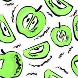 Modelo inconsútil con las manzanas verdes ilustración del vector