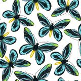 Modelo inconsútil con las mariposas azules Foto de archivo libre de regalías
