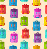 Modelo inconsútil con las mochilas coloridas de la escuela Imagenes de archivo