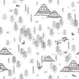 Modelo inconsútil con las montañas y acampar del bosque libre illustration