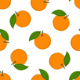 Modelo inconsútil con las naranjas dibujadas mano en el fondo blanco En estilo de la vendimia Foto de archivo