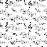 Modelo inconsútil con las notas de la música - vector el fondo Fotos de archivo
