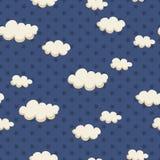 Modelo inconsútil con las nubes y las estrellas Imagen de archivo libre de regalías