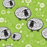Modelo inconsútil con las ovejas de la historieta. Embroma el fondo. Fotografía de archivo