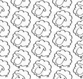 Modelo inconsútil con las ovejas divertidas en vector Imagenes de archivo