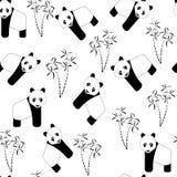 Modelo inconsútil con las pandas y el bambú Ejemplo del vector del drenaje de la mano en el fondo blanco libre illustration