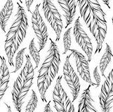 Modelo inconsútil con las plumas dibujadas mano Ilustración del vector Fotos de archivo