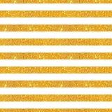 Modelo inconsútil con las rayas horizontales del brillo de oro en el fondo blanco fotografía de archivo libre de regalías