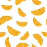 Modelo inconsútil con las rebanadas de naranja en el fondo blanco Ilustración del vector Fotos de archivo